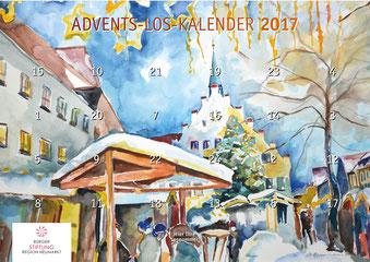 """Foto (BRN): Motiv des Advents-Los-Kalenders 2017 der Bürgerstiftung Region Neumarkt """"Weihnachtsmarkt Neumarkt"""", gemalt von Donata Oppermann"""