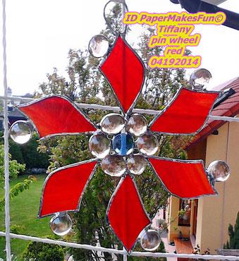 Tiffany pin wheel Glasnuggets Flower
