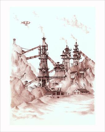dibujos, dibujo arquitectonico, arquitectura fantastica, arte fantastico, dibujo fantastico, dibujantes españoles, dibujos a boligrafo, altos hornos