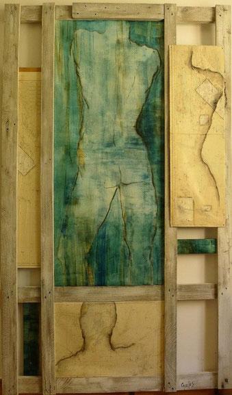 """""""Cartographie de l'homme""""195/115.Huile, bitume, fusain sur toile et papier."""