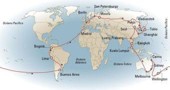 Itinerario de una posible mundo hacia el este.