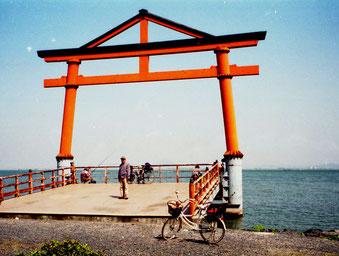 der erste Gebirgsübeergang war geschafft - Blick auf den Biwako-See