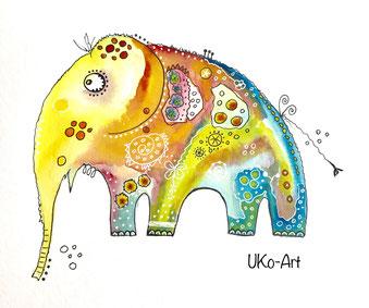 kreativer Kindergeburtstag in der Kunstwerkstatt UKo-Art Usingen, Funny-Art Elefant
