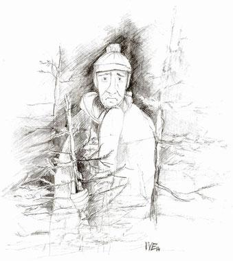 Gregory, der Weihnachtsbaumverkäufer. Grafik von IVE
