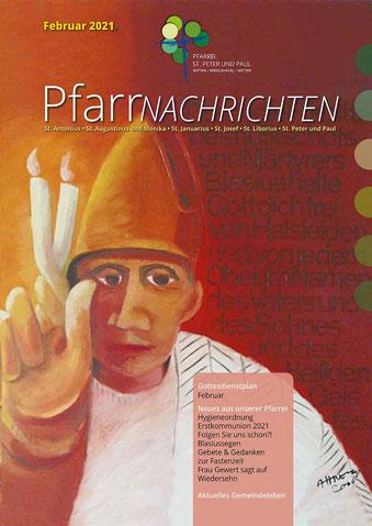 Foto der Titelseite der Titelseite der Pfarrnachrichten Febr. 2021