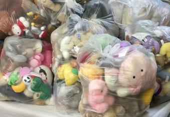 mueden.de, blog, Kuscheltier-Spendenaktion, Bild zeigt verpackte Kuscheltiere in Säcke