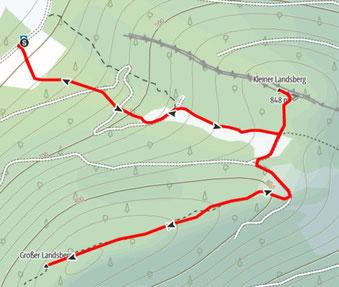 Route vom Güterweg Landsberg auf den Großen Landsberg und den Kleinen Landsberg