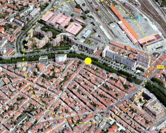 Station Chalets-Raisin : de la place de la Concorde à Raynal, de la résidence la Comtale à Négreneys (cercle jaune=500m de rayon)