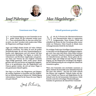 """Das Vorwort unseres Landeshauptmannes, Hr. Pühringer und Landesrat Herr Hiegelberger aus der """"Fusions-Broschüre Aigen-Schlägl"""""""