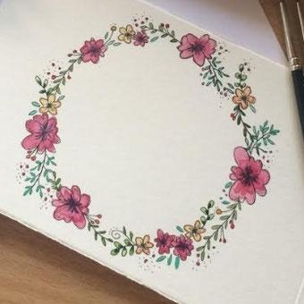 DIY Blumenkränze malen - durch einen Blumekranz gibst du deinem Lettering den letzten Schliff