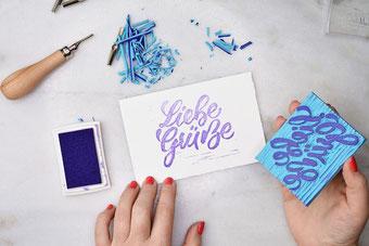 DIY Anleitung für einen selbstgemachten Stempel mit deinem Handlettering - Liebe Grüsse Lettering