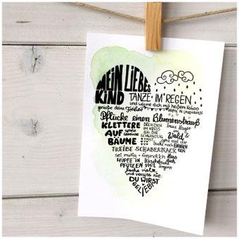 Gestalte mit Handlettering ein Herzbild: Mein liebes Kind... Ein tolles und individuelles Geschenk zur Geburt