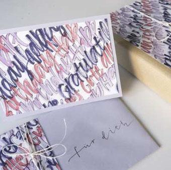 Geschenkset gestalten mit Lettering