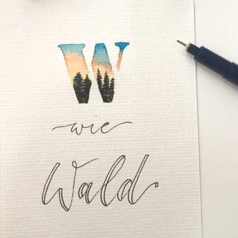 Lettering Anleitung für eine Illustration im Buchstaben
