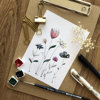 Schritt für Schritt Anleitung um easy Aquarellblumen zu malen
