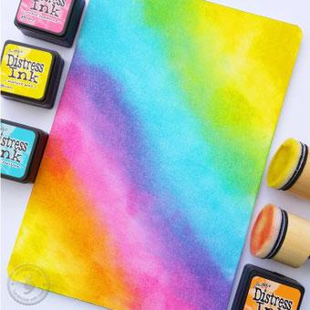 DIY Anleitung für einen Hintergrund für Lettering: Blending mit Stempeln