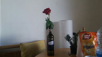 Beautiful rose in the chilenio wine bottle