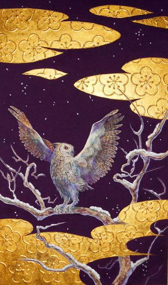 「四季金梟図-冬-」雲肌麻紙、墨、水干、胡粉、岩絵具、金箔、プラチナ箔 M8