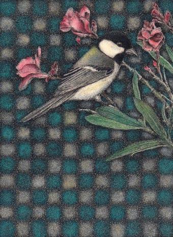 「シジュウカラと夾竹桃」 細密ペン画 150×110㎜ 216,000円(税・額込み)