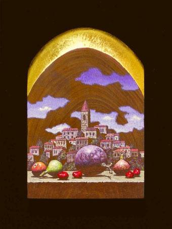 「夢の中で」テンペラ、油彩、木、金箔 11.0×7.2㎝