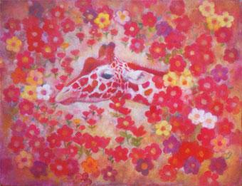 矢澤みずき 「花のカムフラージュ」油彩・アクリル