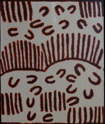 クララ・ナパルラ「女性の食物採集」アクリル・キャンバス 38x46cm