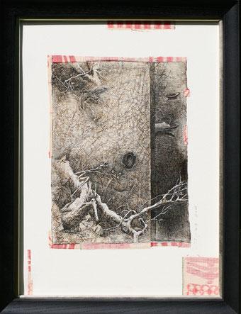 「雪の舟」雁皮紙にペン、テンペラ、紬 P8