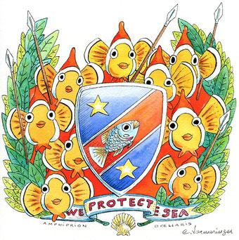 海を守るクマノミの兵士 20 cm x 20 cm 中国墨、エコリン 、水彩
