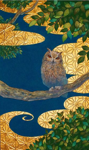「四季金梟図-夏- 」雲肌麻紙、墨、水干、胡粉、岩絵具、金箔 M8