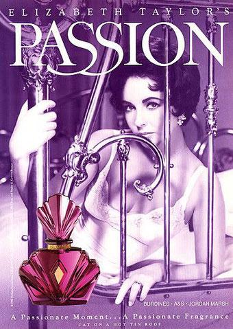 ELIZABETH TAYLOR'S - PASSION : AFFICHE PUBLICITAIRE