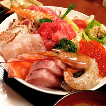 Kaisen don Gu no Omori (海鮮丼具の大盛) You get sashimi on the rice.) Are you really ready for this?