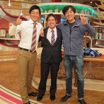 FBS めんたいワイドに出演 福岡竜馬さんと松本礼明さんと一緒