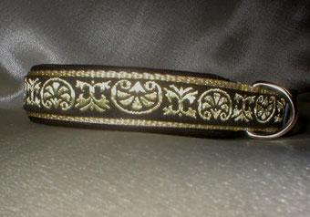 Halsband, Hund, Klickverschluss, 2,5cm breit, Gurtband beige, Borte Keltenmuster
