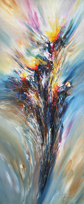 Abstract painting, modern art, dynamic, strong, subtle, energetic, blue, yellow, red