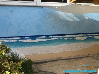 Haus Wand Bild Gemälde 3D Meer Strand  Wellen