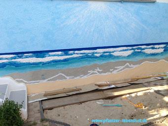 Wand Bild Gemälde Kunst kreativ Meer 3D modellieren Armierungskleber Wellen