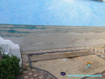 Wand dreidimensional Bild Gemälde Beton kreativ Meer Strand