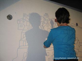 Santorini Meer Gemälde Projektor auf Wand übertragen