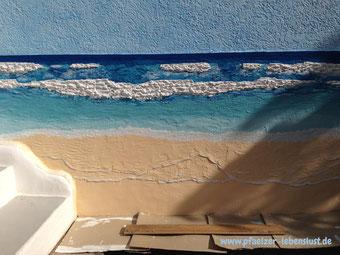 Wand Bild 3 dimensional Gemälde Kunst kreativ Meer Strand modellieren Armierung Klebe