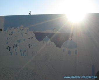 Santorini Gemälde Griechenland Sonnenuntergang Meer Wand