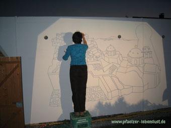 Santorini Garege selbst bemalen Wandbild