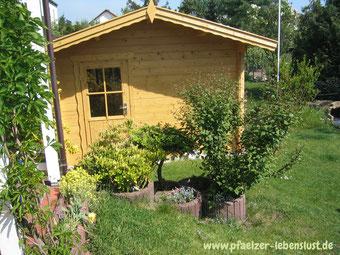 Garten Sauna selbst gebaut Blockhaus
