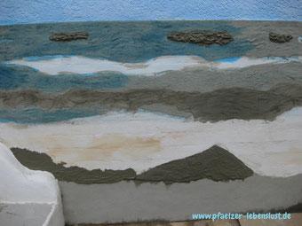 Wand Bild Gemälde Kunst kreativ Meer Strand Armierungskleber Kacheln überzogen