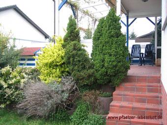 Schöner Garten, dunkle Ecke, kreativ umgestalten, Sandkasten, hässliche Pflanzringe