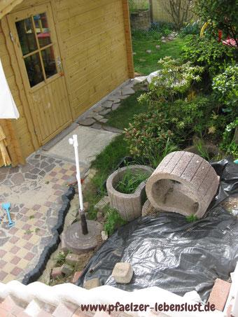 Garten Pflanzringe weg,  Sauna