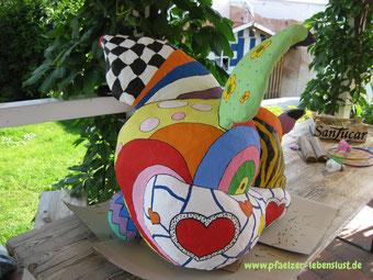 Wie Nana bemalt Garten Deko nach Niki de Saint Phalle