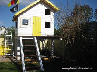 Fenster selbst bauen Gartenhaus Holzhaus zum Öffnen