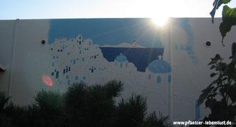 Santorini Wand Sonnenuntergang selbst malen