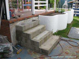 Treppe Terrasse Garten mauern Beton