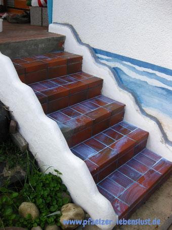 Treppe verschönern Fliesen überputzen Beton